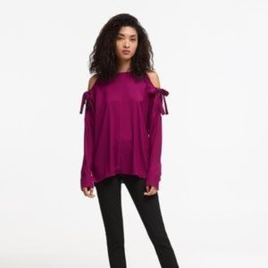New DKNY Cold Shoulder Magenta Tie Blouse Size M